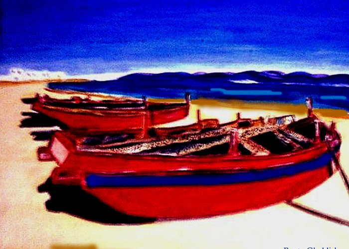 Boats Greeting Card featuring the painting Red Boats by Rusty Gladdish