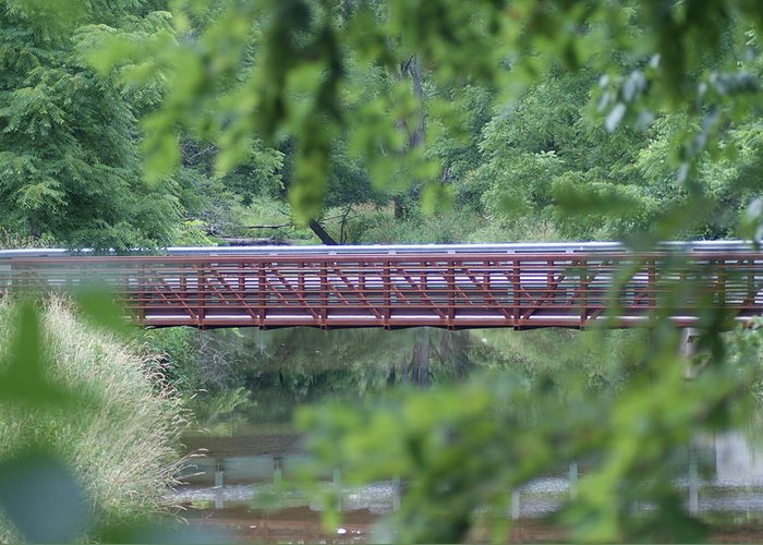 Bridge Greeting Card featuring the photograph Red Bridge by Heather Green