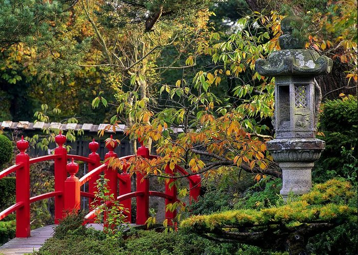 Atmosphere Greeting Card featuring the photograph Red Bridge & Japanese Lantern, Autumn by The Irish Image Collection