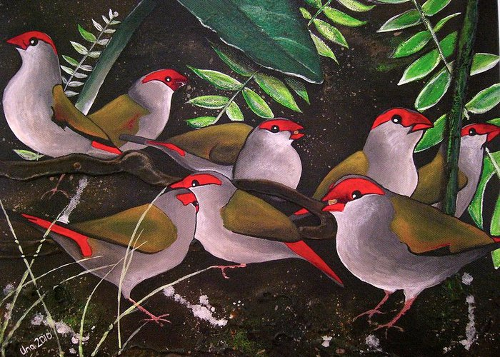 Red Browed Finch Greeting Card featuring the painting Red-browed Finch Flock Weipa by Una Miller