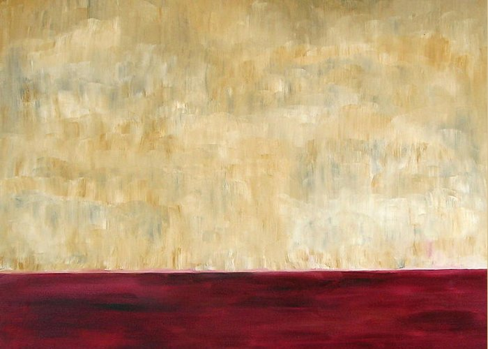 Red Greeting Card featuring the painting Red Brown And Beige Color Study by Troy Thomas