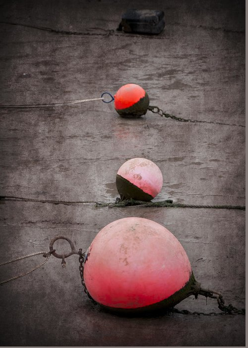 Anchored Greeting Card featuring the photograph Red Buoys by Svetlana Sewell