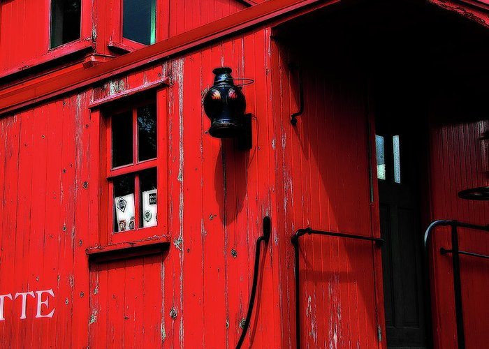 Hovind Greeting Card featuring the photograph Red Caboose by Scott Hovind