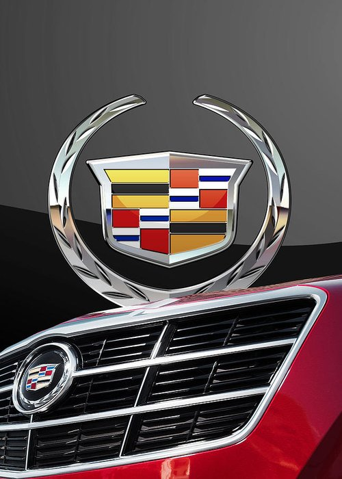 'auto Badges' By Serge Averbukh Greeting Card featuring the photograph Red Cadillac C T S - Front Grill Ornament and 3D Badge on Black by Serge Averbukh