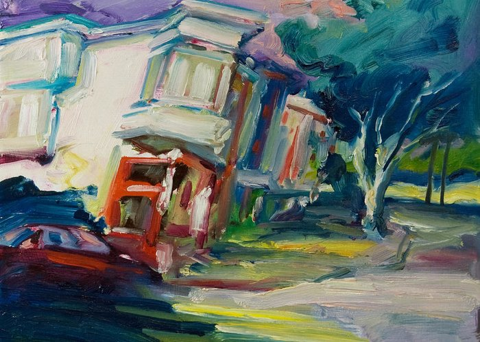 Trees Greeting Card featuring the painting Red Cafe by Rick Nederlof