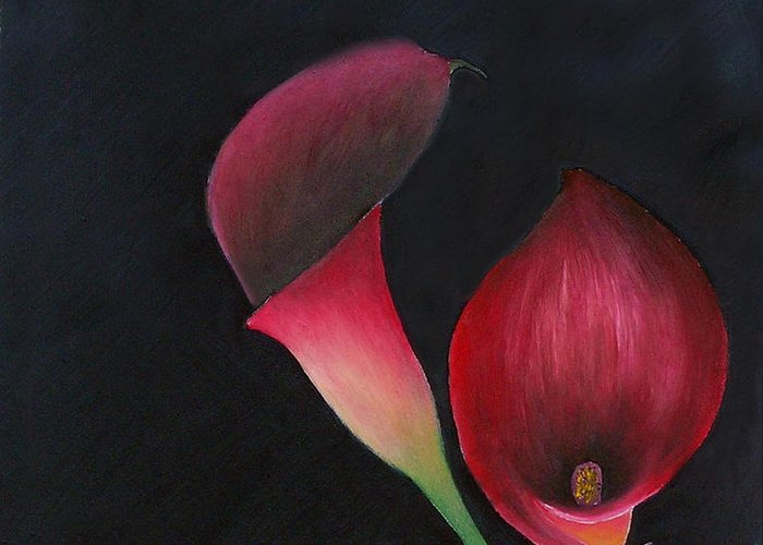 Oil Greeting Card featuring the painting Red Calla Lillies by Mary Gaines