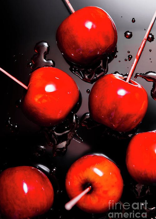 Creative Greeting Card featuring the photograph Red Candy Apples Or Apple Taffy by Jorgo Photography - Wall Art Gallery