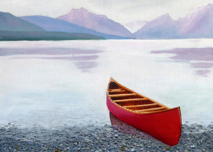 Canoe Greeting Card featuring the painting Red Canoe by Dillard Adams