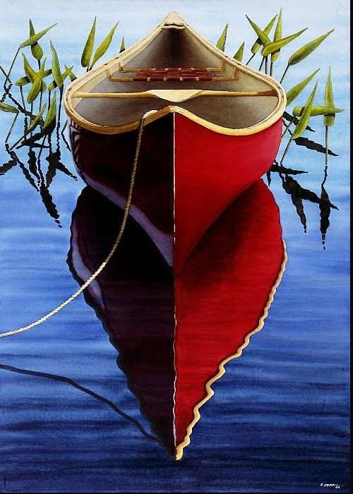 Red Canoe In Pickerel Weeds Greeting Card featuring the painting Red Canoe In Pickerel Weeds by Ed Novak