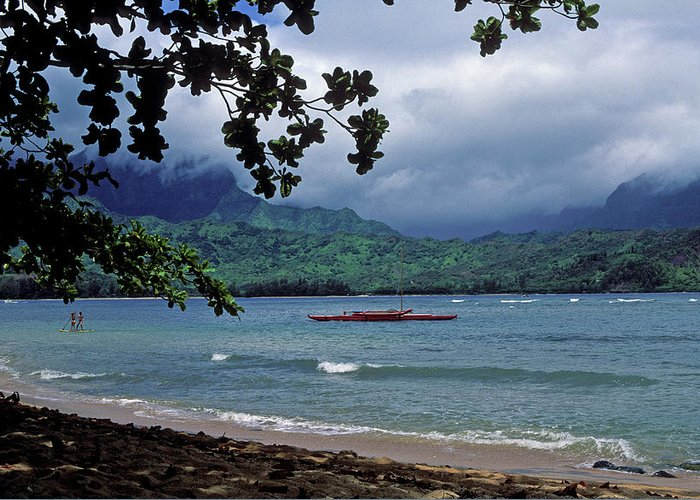 Seascapes Greeting Card featuring the photograph Red Canoe On Hanalei Bay by Kathy Yates