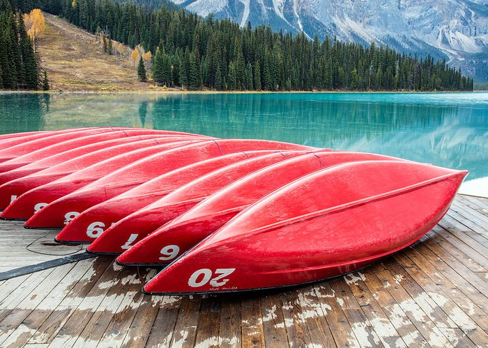 Canada Greeting Card featuring the photograph Red Canoes Of Emerald Lake by Pierre Leclerc Photography