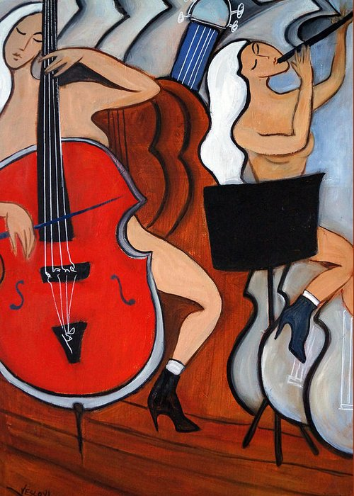 Cubic Abstract Greeting Card featuring the painting Red Cello 2 by Valerie Vescovi