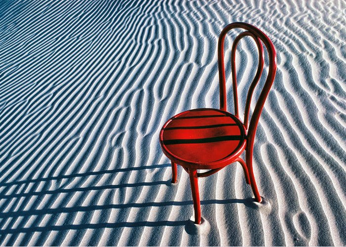 Red Greeting Card featuring the photograph Red Chair In Sand by Garry Gay