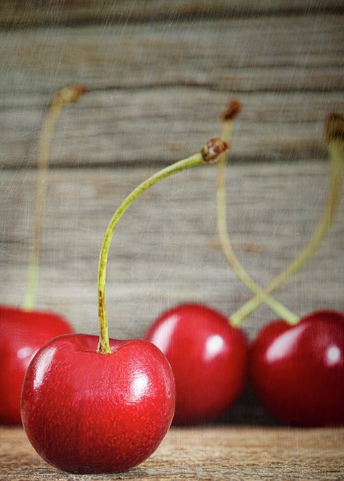 Berry Greeting Card featuring the photograph Red Cherries On Barn Wood by Sandra Cunningham