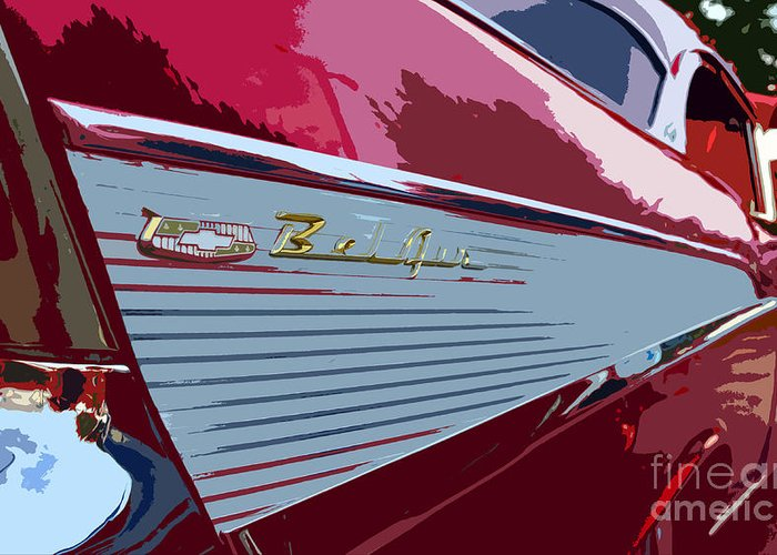 Chevy Greeting Card featuring the painting Red Chevy by David Lee Thompson