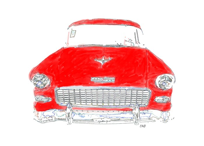 Tee Greeting Card featuring the drawing Red Chevy T-shirt by Edward Fielding