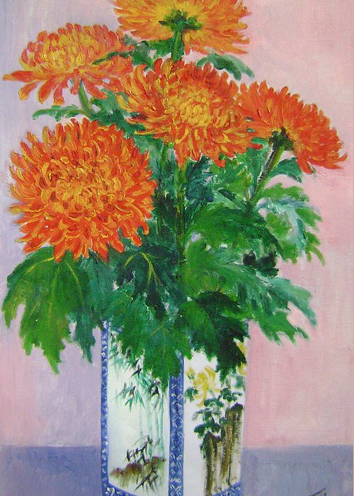 Floral Greeting Card featuring the painting Red Chrysanthemums by Lian Zhen