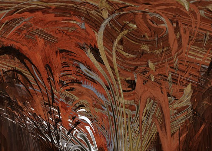 Red Greeting Card featuring the digital art Red Clay Swirl 2 by Beverly Kimble Davis