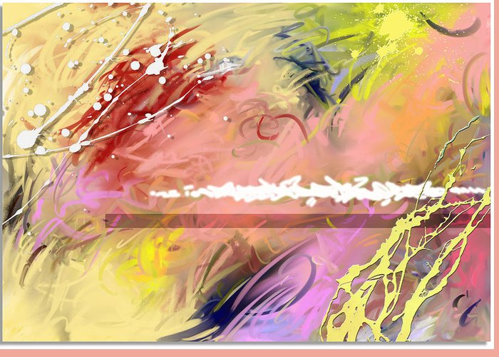 Abstract Greeting Card featuring the digital art Red Convertable by Snake Jagger