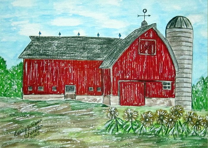 Red Greeting Card featuring the painting Red Country Barn by Kathy Marrs Chandler