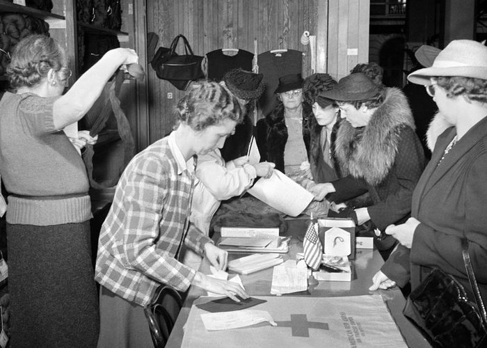 1941 Greeting Card featuring the photograph Red Cross, 1941 by Granger