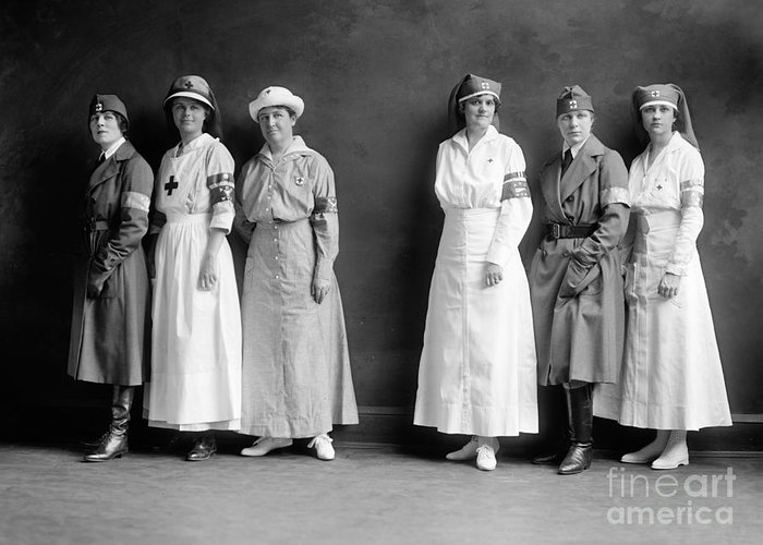 1920 Greeting Card featuring the photograph Red Cross Corps, C1920 by Granger