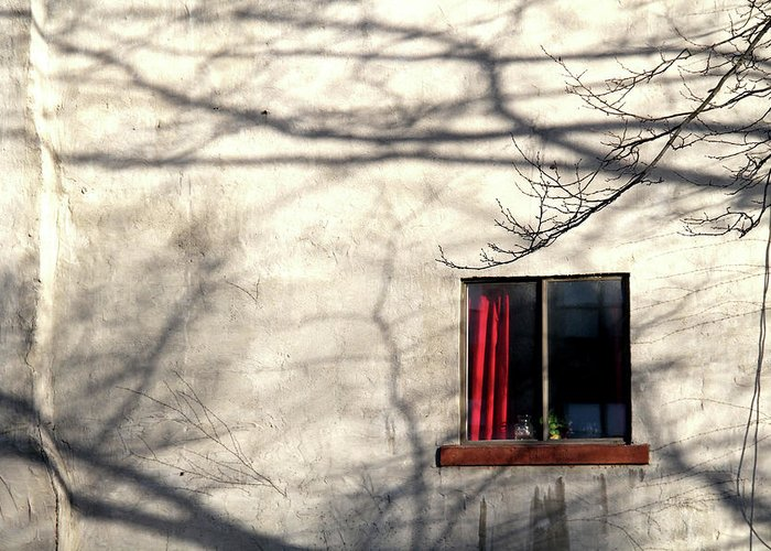 Window Greeting Card featuring the photograph Red Curtain by Doug Hockman Photography