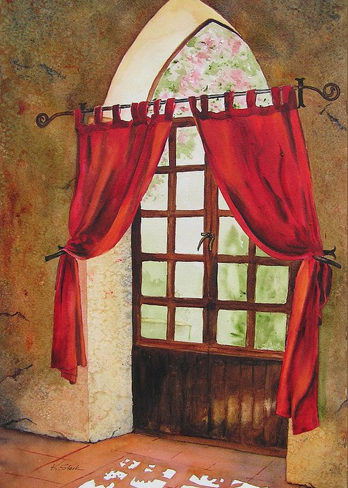 Curtain Greeting Card featuring the painting Red Curtain by Karen Stark