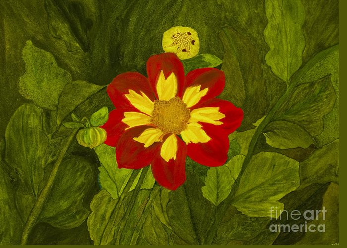 Red Greeting Card featuring the painting Red Dahlia by Louise Magno