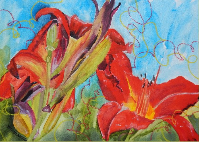 Red Greeting Card featuring the painting Red Day Lilies by Jean Blackmer