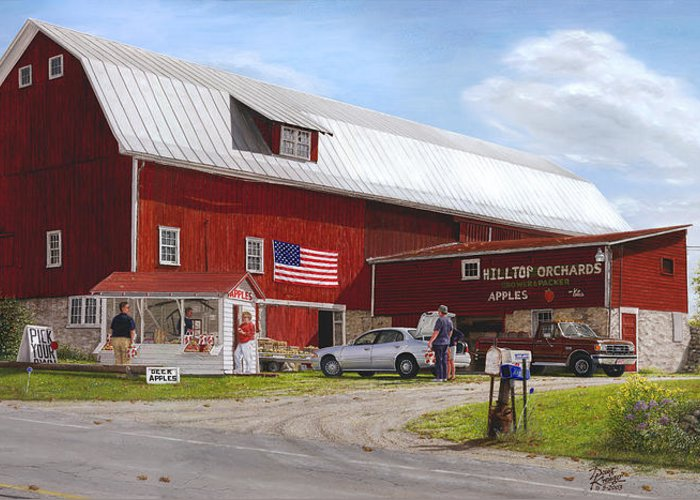 Large Red Barn Greeting Card featuring the painting Red Delicious by Doug Kreuger