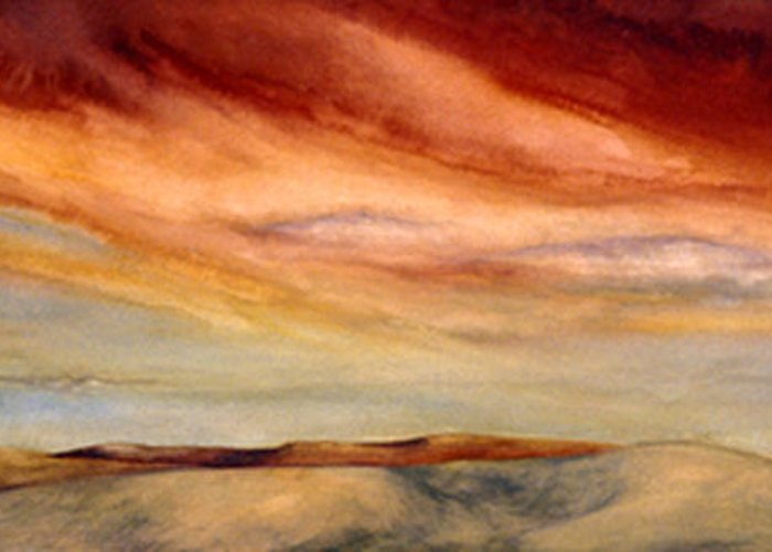 Watercolor Greeting Card featuring the painting Red Desert by Nancy Ethiel