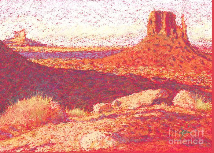 Buttes And Mesas Greeting Card featuring the drawing Red Desert by Suzie Majikol Maier
