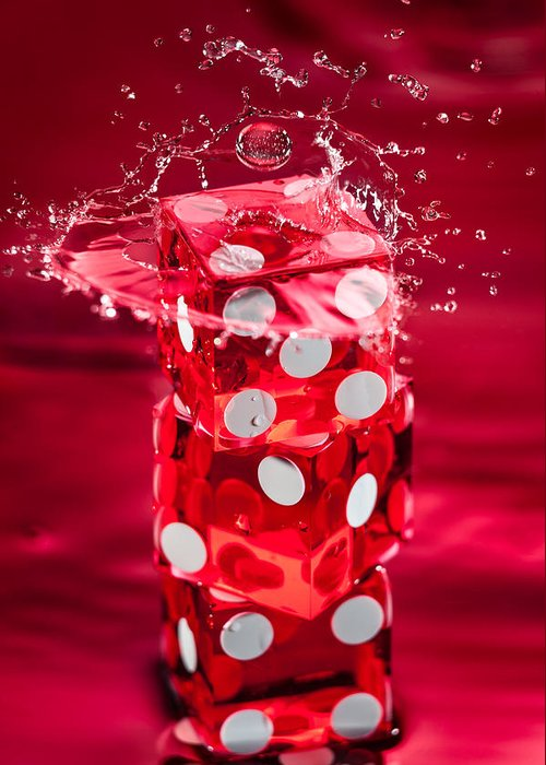 Dice Greeting Card featuring the photograph Red Dice Splash by Steve Gadomski