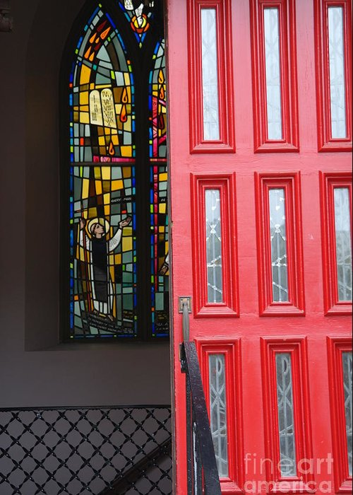 Red Door Greeting Card featuring the photograph Red Door At Church In Front Of Stained Glass by David Bearden