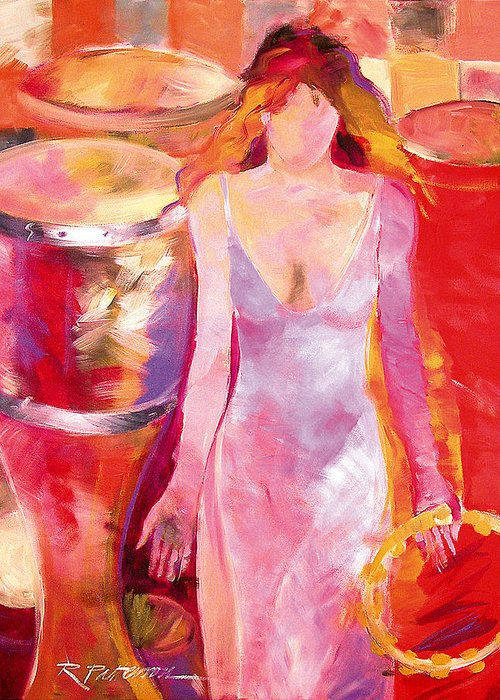 Figurative Greeting Card featuring the painting Red Drum And Tambourine by Ron Patterson