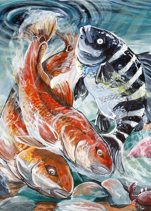Red Drum Greeting Card featuring the painting Red Drums And A Sheephead by Jenn Cunningham