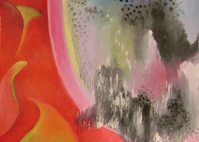 Abstract Greeting Card featuring the painting Red Ecstasy 2 by Lian Zhen