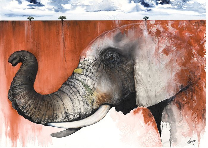 Elephant Greeting Card featuring the mixed media Red Elephant by Anthony Burks Sr