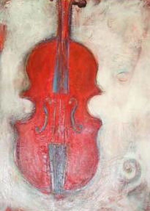 Fiddle Greeting Card featuring the painting 'Red Fiddle' by Sherry Leigh Williams