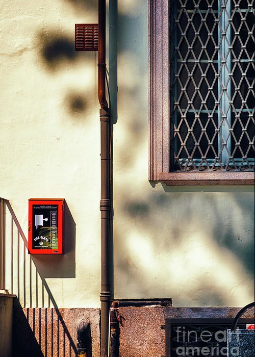 Abstract Greeting Card featuring the photograph Red Fire Box With Window, Shadows And Gutter by Silvia Ganora