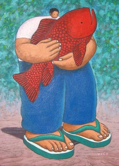 Acrylic Greeting Card featuring the painting Red Fish And Blue Trousers. by Vico Vico