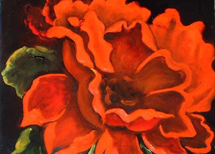 Red Flower Greeting Card featuring the painting Red Flower by Jeanene Stein