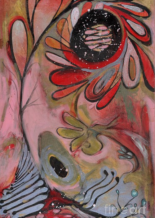 Painting Greeting Card featuring the painting Red Flower by Michelle Spiziri