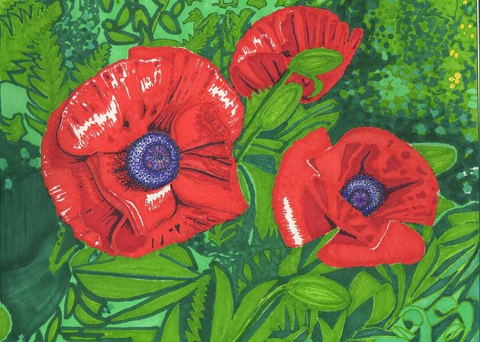 Flower Greeting Card featuring the drawing Red Flower by Will Stevenson