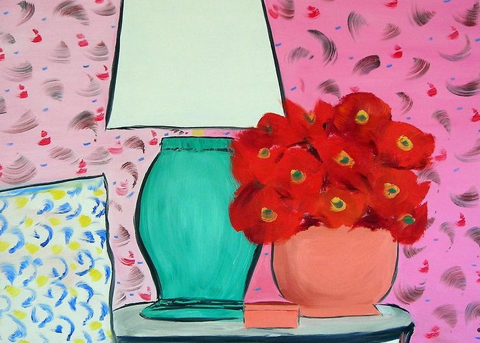 Red Flowers Pink Wallpaper Bedroom Greeting Card featuring the painting Red Flowers Pink Room by Troy Thomas