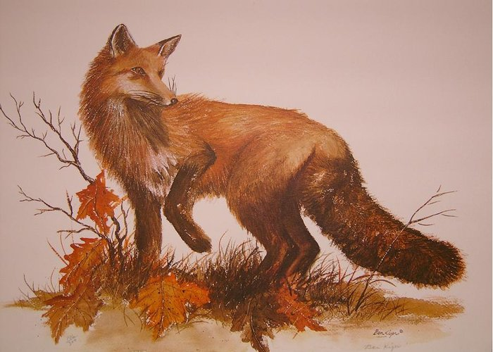 Nature Greeting Card featuring the painting Red Fox by Ben Kiger
