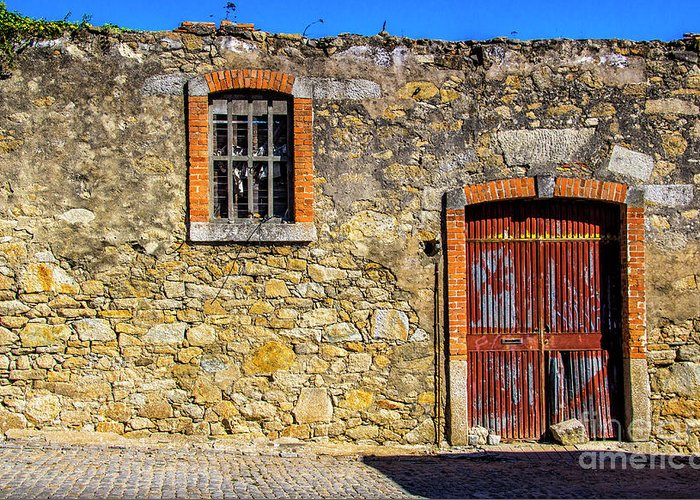 Gate Greeting Card featuring the photograph Red Gate, Stone Wall by Roberta Bragan