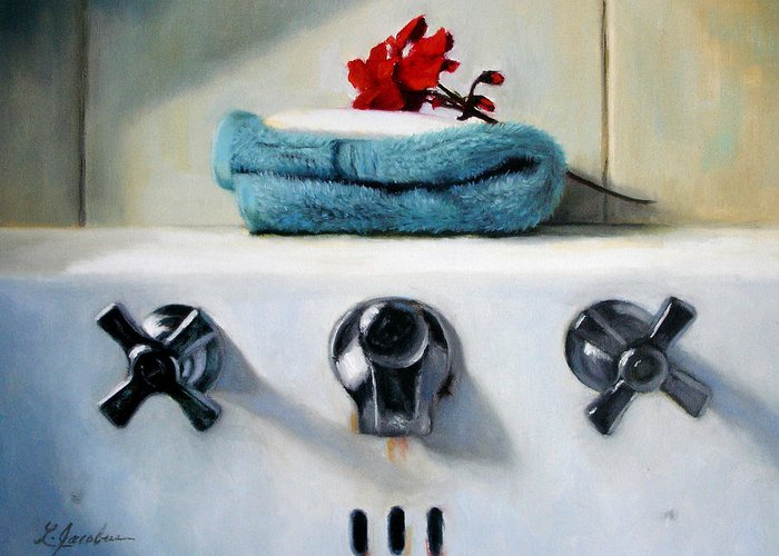 Red Geraniums Greeting Card featuring the painting Red Geranium And Old Sink by Linda Jacobus