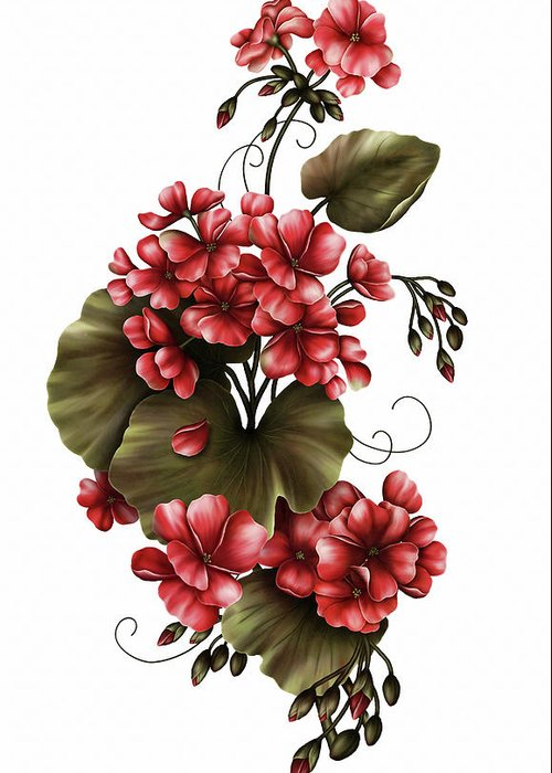Red Geraniums Mixed Media Greeting Cards